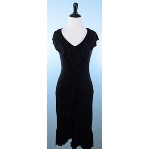 BAILEY 44 black ruffle front dress XS
